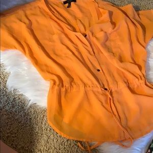 Sheer Orange Button Up Blouse by Jessica Simpson